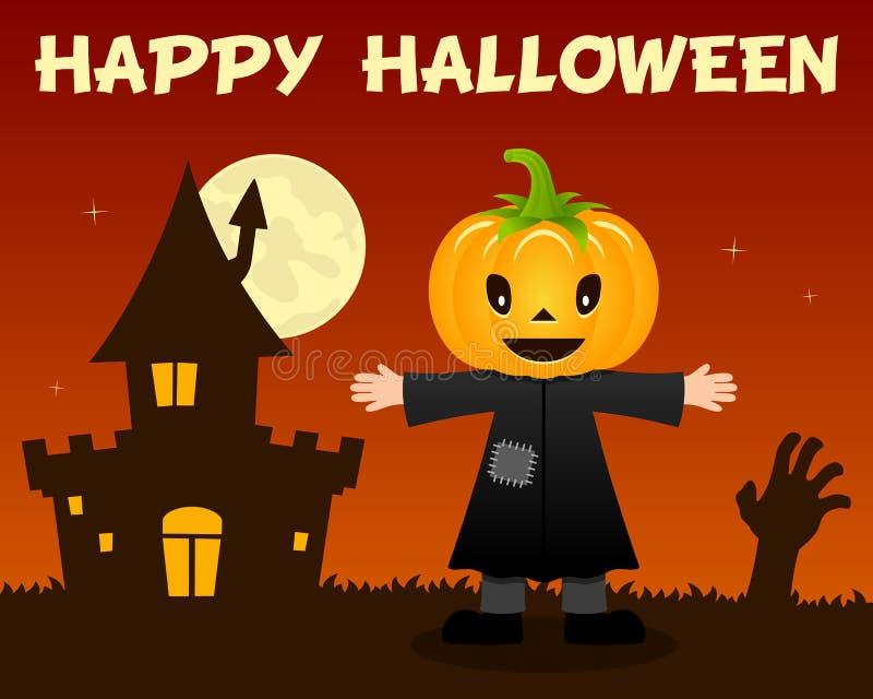 Чучело хеллоуина и преследовать дом бесплатная иллюстрация