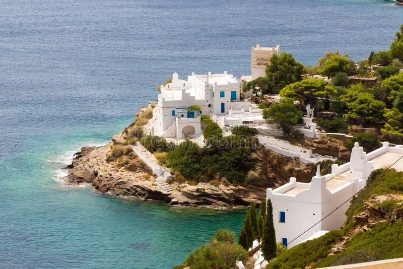 Чудесный взгляд зданий города в острове Ios, Греции стоковое фото rf
