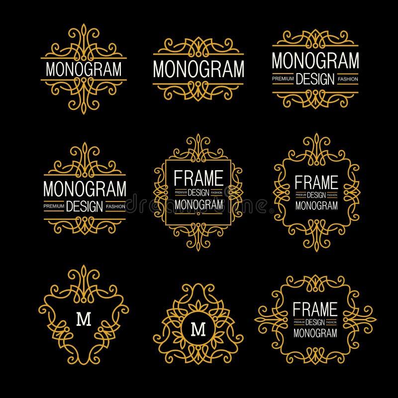 Чудесный комплект, nouveau искусства стиля Элегантная линия логотип, Emdlem и вензель искусства конструирует, vector шаблон иллюстрация штока