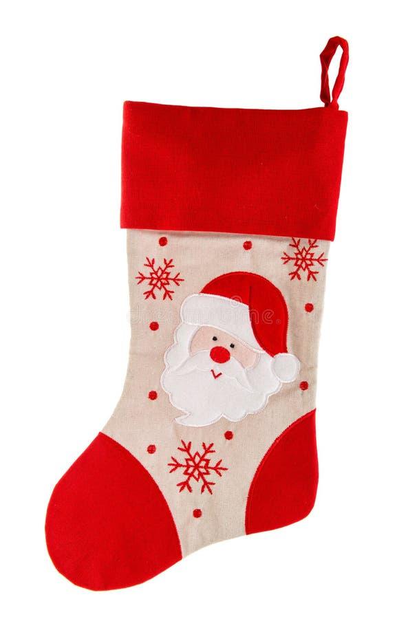 чулок рождества красный носок с Санта Клаусом и снежинками стоковые изображения rf