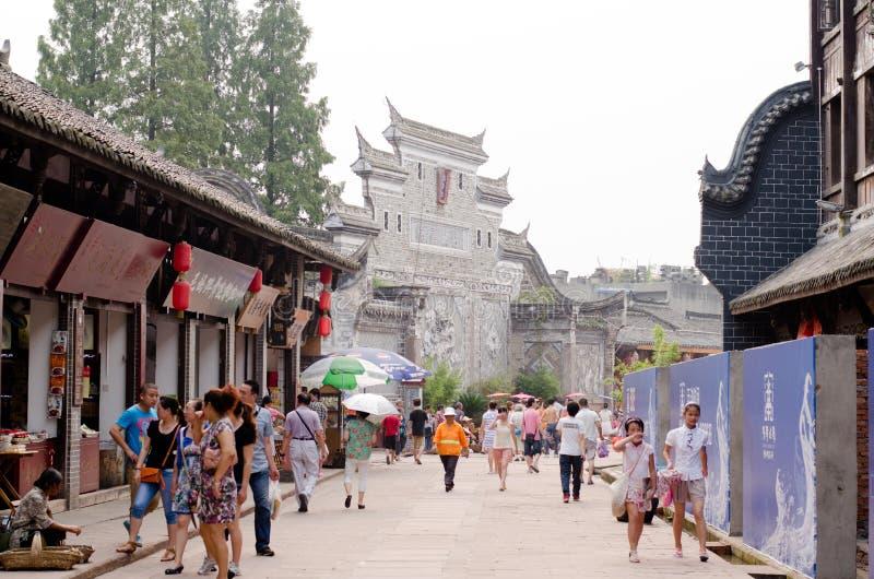 ЧЭНДУ, КИТАЙ 17-ое августа: Старая деревня Luodai Hakka, старая стоковые фотографии rf