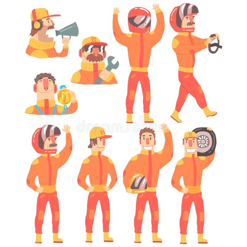 Члены гоночной команды в оранжевой форме включая комплект команды техников стопа водителя и ямы персонажей из мультфильма бесплатная иллюстрация