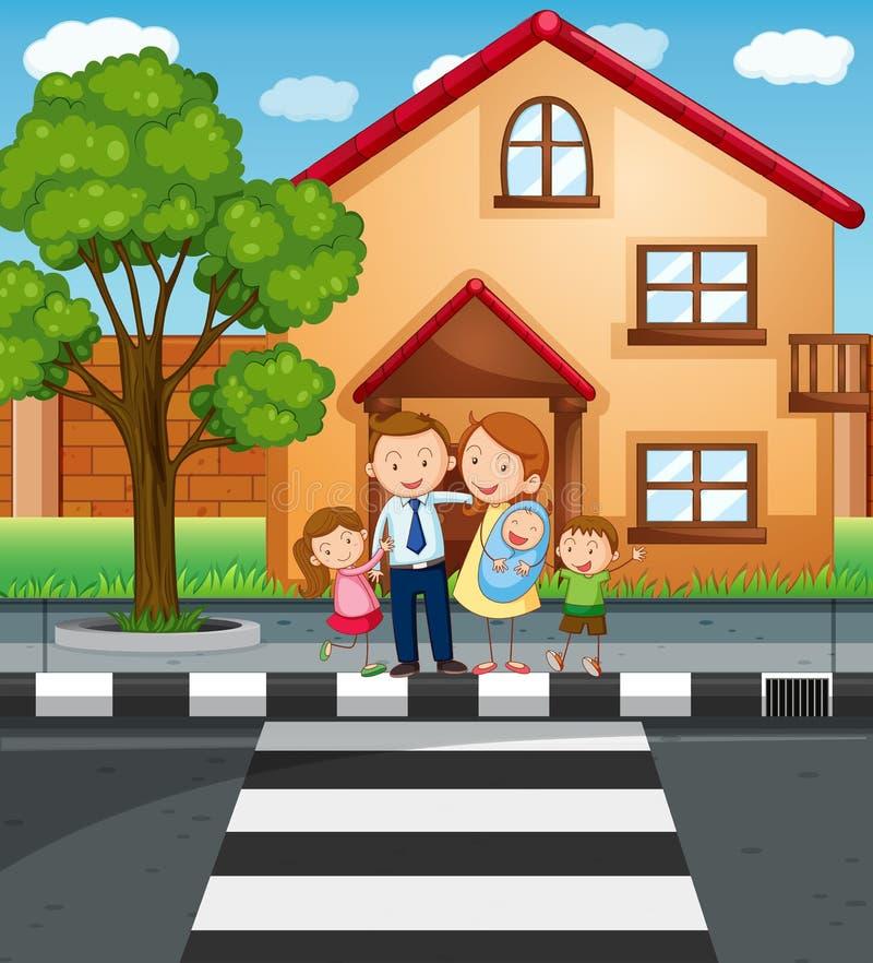 Члены семьи стоя перед домом иллюстрация вектора