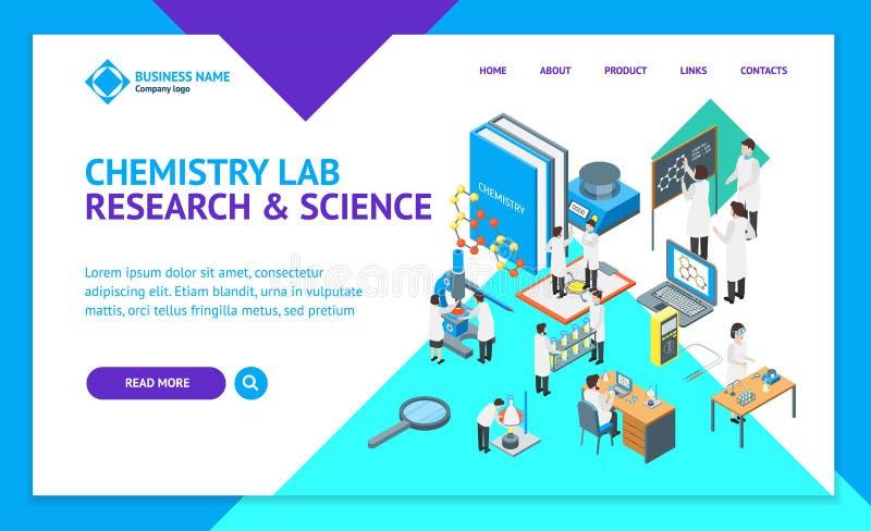 Шаблона интернет-страницы посадки 3d науки взгляд химического фармацевтического равновеликий вектор бесплатная иллюстрация