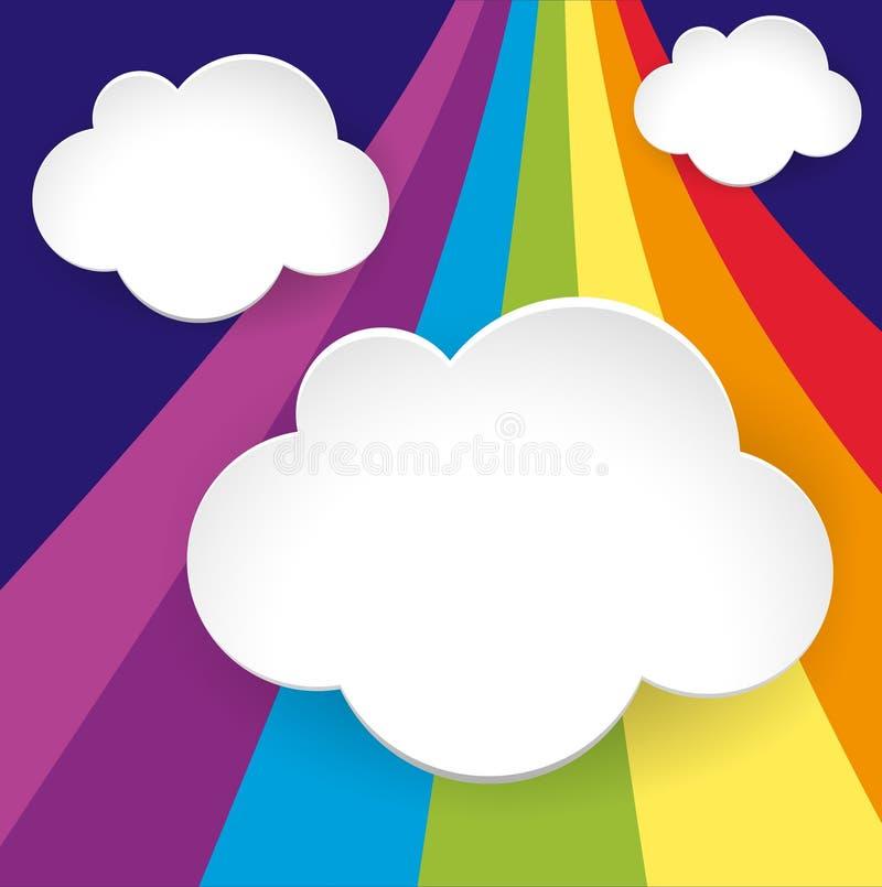 3 шаблона облака на предпосылке радуги бесплатная иллюстрация