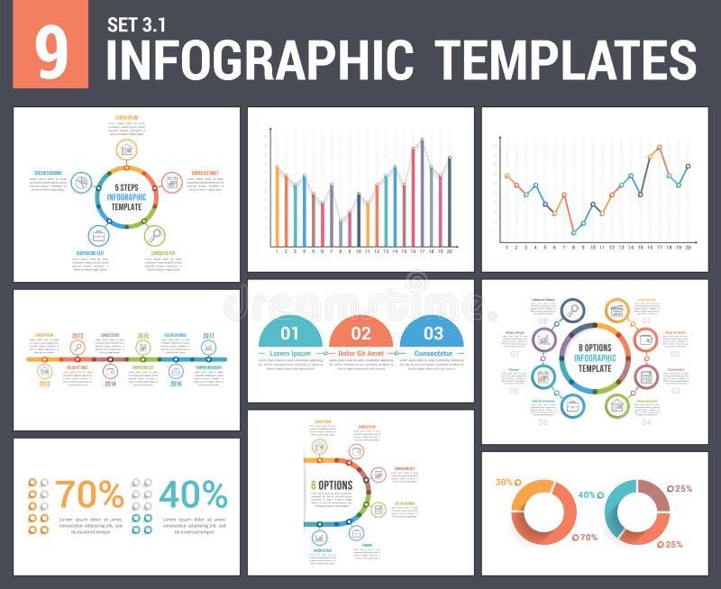 9 шаблонов Infographic бесплатная иллюстрация
