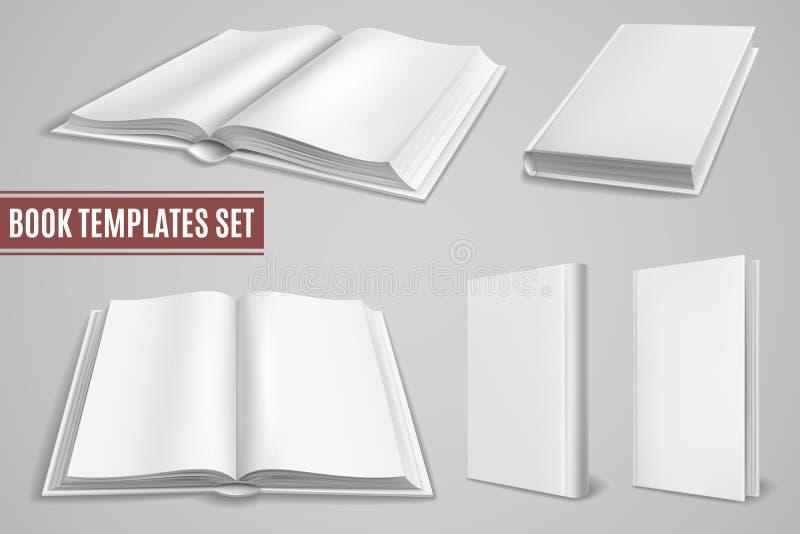 Шаблоны белой книги Пустые открытые обложки книги, закрытые крышки бр иллюстрация штока