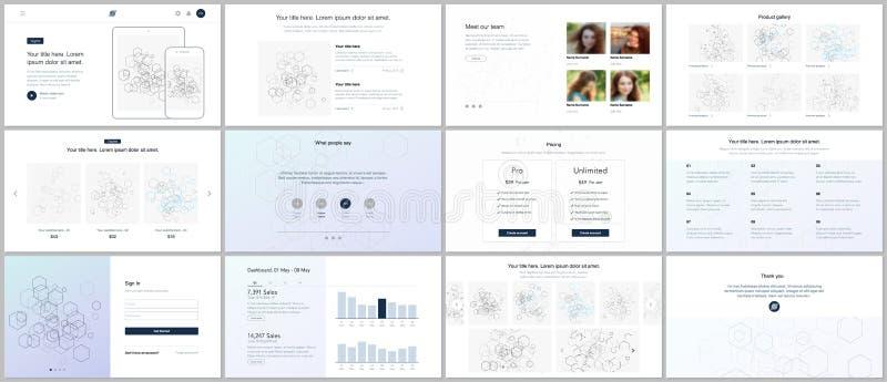 Шаблоны вектора для вебсайта конструируют, минимальные представления, порт иллюстрация штока