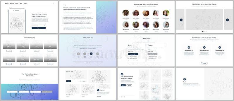 Шаблоны вектора для вебсайта конструируют, минимальные представления, портфолио UI, UX, GUI Дизайн заголовков, приборной панели,  иллюстрация вектора
