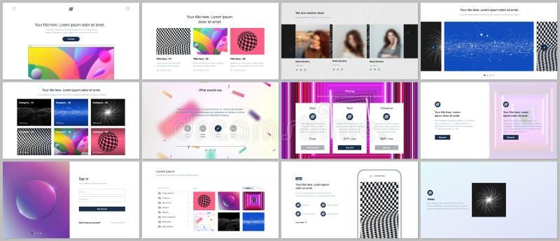 Шаблоны вектора для вебсайта конструируют, минимальные представления, портфолио с живым красочным абстрактным градиентом иллюстрация вектора
