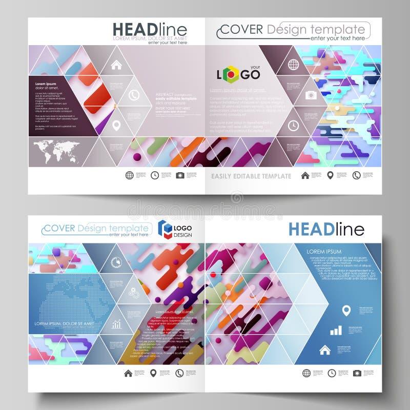 Шаблоны дела для квадратного bi дизайна складывают брошюру, кассету, рогульку, буклет, отчет Крышка листовки, абстрактный вектор бесплатная иллюстрация