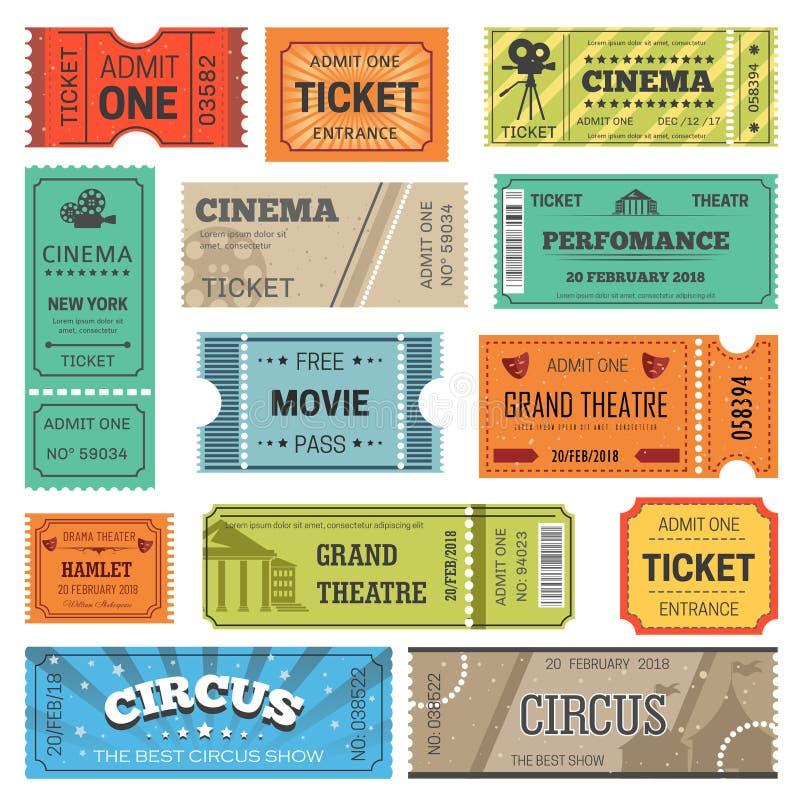 Шаблоны дизайна вектора билетов для кино, театра или кино и цирка или выставки концерта бесплатная иллюстрация