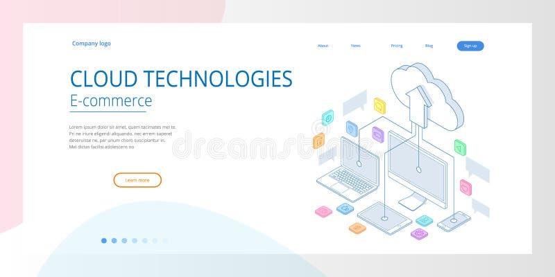Шаблоны дизайна интернет-страницы заволакивают вычисляя концепция Равновеликие обслуживания облака Технология интернета Онлайновы иллюстрация штока