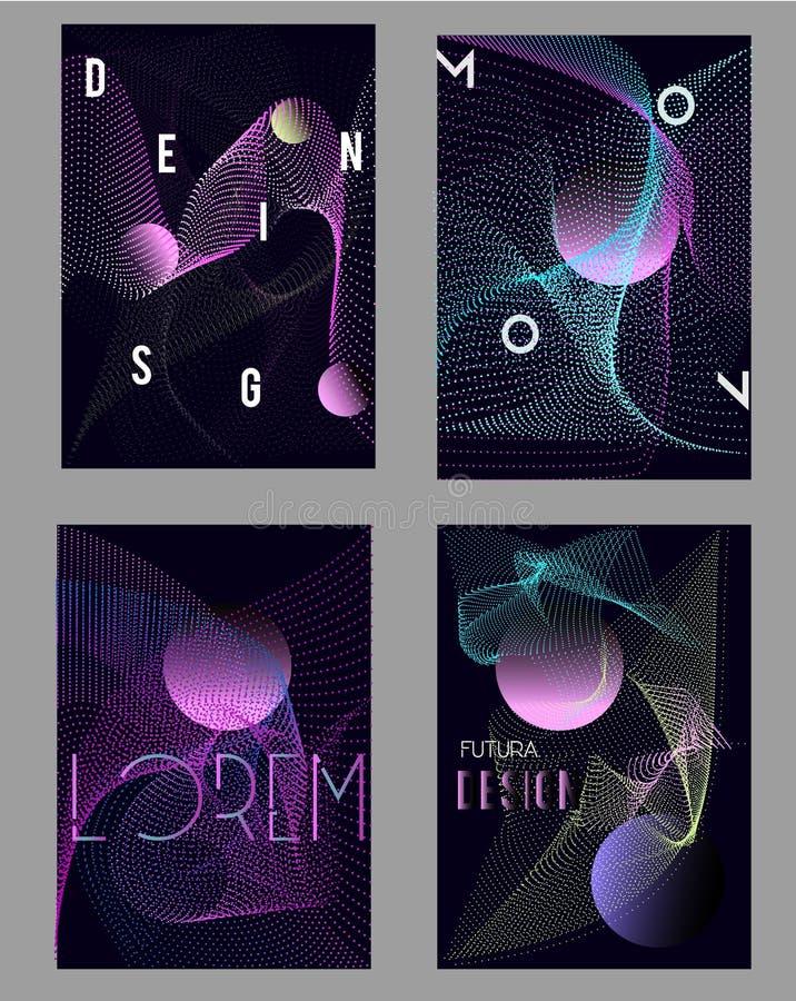 Шаблоны дизайна крышек конспекта Футуристический геометрический стиль с формами gradinets и цифровыми волнами иллюстрация вектора