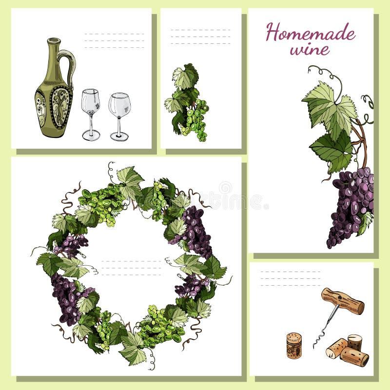 Шаблоны для меню, приглашения или ярлыков с элементами продукта вина, хворостин виноградины и венка Эскиз нарисованный рукой стоковое изображение