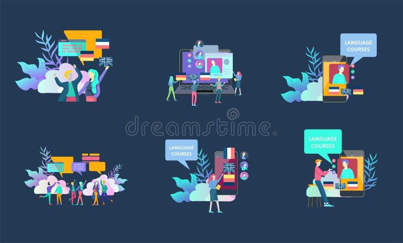 шаблоны для онлайн языковых курсов, дистанционного обучения, тренировки Интерфейс изучения языка и уча концепция E бесплатная иллюстрация