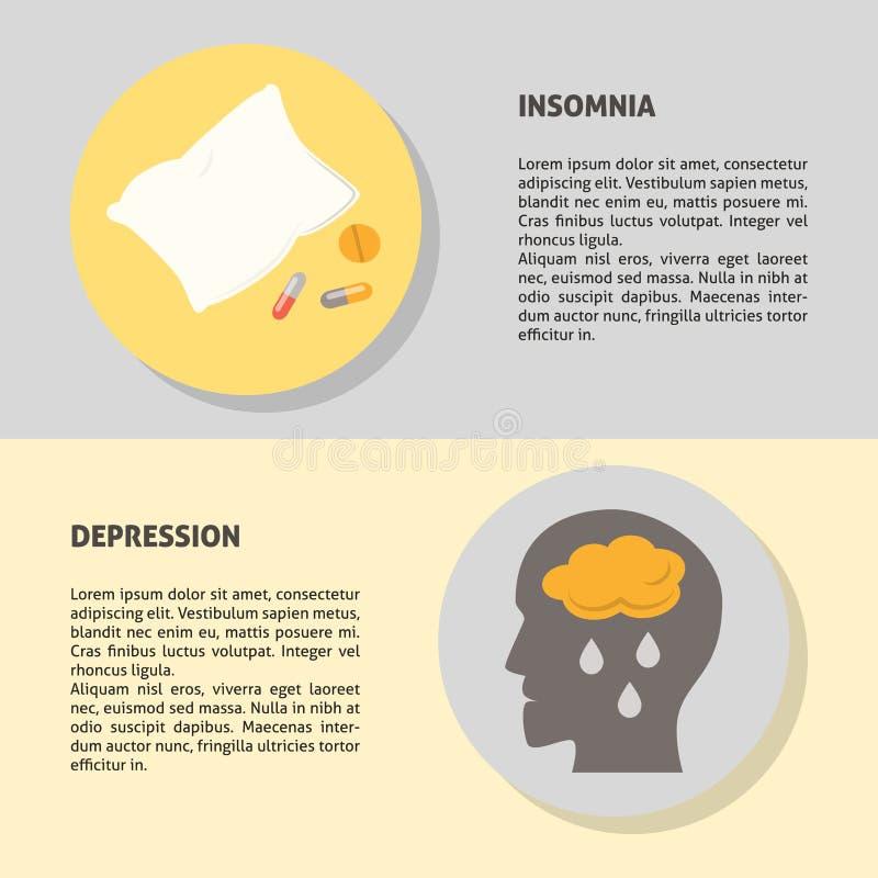 Шаблоны знамени депрессии и инсомнии в плоском стиле с текстом иллюстрация вектора