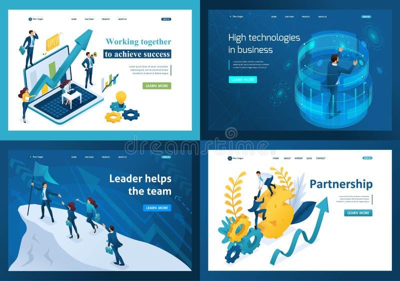 Шаблоны интернет-страницы установленного дизайна стремиться для успеха Современные концепции иллюстрации для вебсайта и мобильног бесплатная иллюстрация
