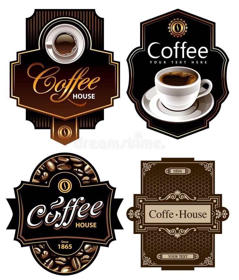 шаблоны конструкции 4 кофе иллюстрация вектора
