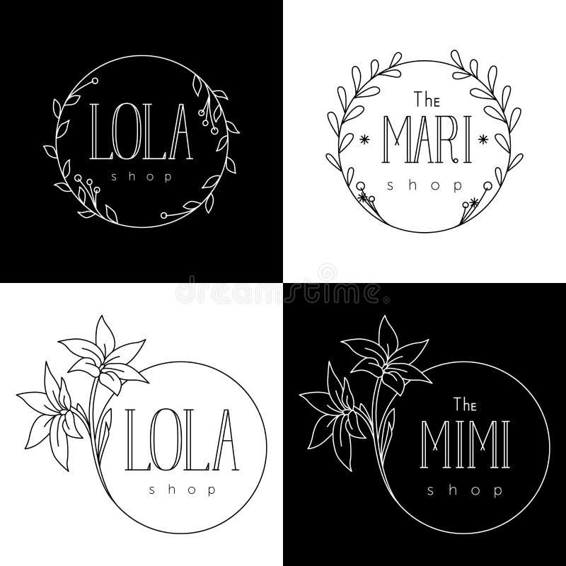 Шаблоны логотипа для цветочных магазинов и бутиков женщин иллюстрация вектора