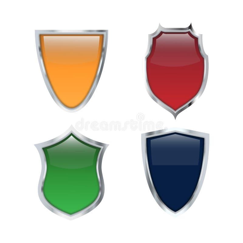 Шаблоны логотипа иллюстрации вектора сияющего значка экрана установленные иллюстрация штока