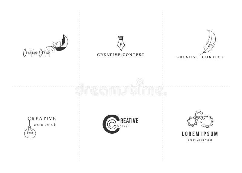 Шаблоны логотипа руки Premade вычерченные Установите покрашенных значков вектора Творческое состязание иллюстрация вектора