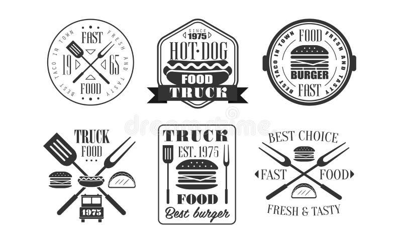 Шаблоны логотипа тележки еды ретро устанавливают, свежий и вкусный Monochrome года сбора винограда фаст-фуда обозначает иллюстрац иллюстрация вектора