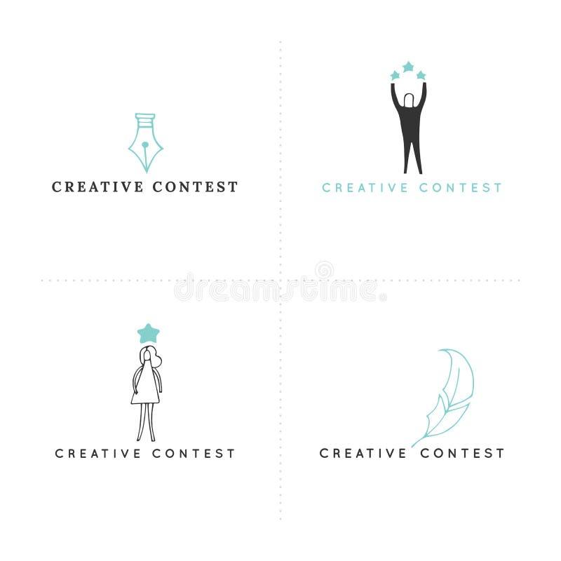 Шаблоны логотипа Premade Вектор установил покрашенных значков руки вычерченных Творческое состязание иллюстрация штока