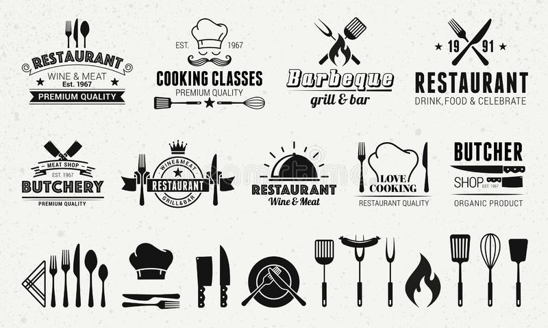9 Шаблоны логотипов Vintage и 19 элементов дизайна для ресторанного бизнеса иллюстрация штока