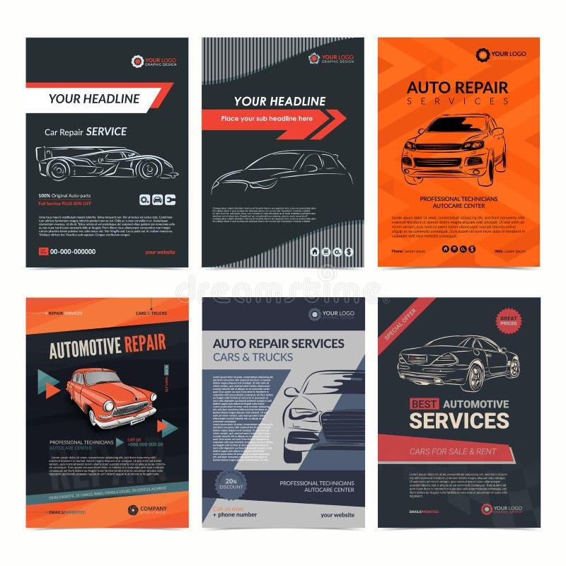 Шаблоны плана предприятия сферы обслуживания ремонта автомобилей установили, обложка журнала автомобиля, брошюра ремонтной мастер иллюстрация штока