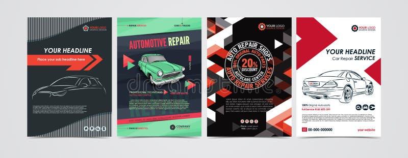Шаблоны плана предприятия сферы обслуживания ремонта автомобилей установили, автомобили для продажи & брошюра ренты, рогулька мод иллюстрация вектора