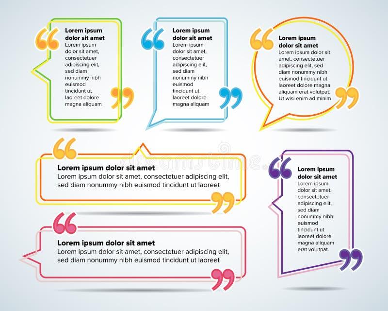 Шаблоны пробела цитаты цвета Пузырь цитаты Пустой шаблон Объезжайте шаблон визитной карточки, бумажный лист, информацию, текст иллюстрация штока