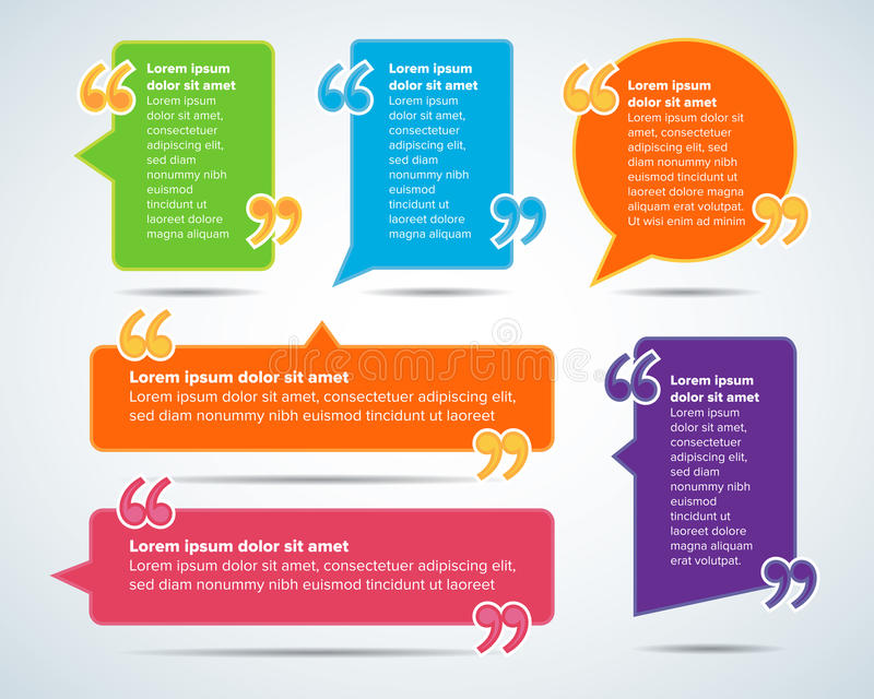 Шаблоны пробела цитаты цвета Пузырь цитаты Пустой шаблон Объезжайте шаблон визитной карточки, бумажный лист, информацию, текст иллюстрация вектора