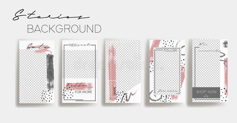 Шаблоны рамки рассказов Instagram E Модель-макет для социального знамени средств массовой информации белый и серый абстрактный пл иллюстрация штока