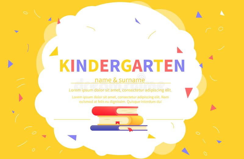 Шаблоны сертификата детского сада для студента Дети конструируют учить и образование диплома Шарж вектора иллюстрация штока