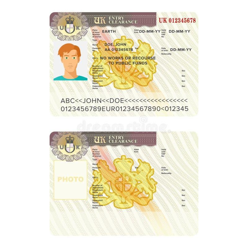 Шаблоны стикера пасспорта визы Великобритании или Англии иллюстрация штока