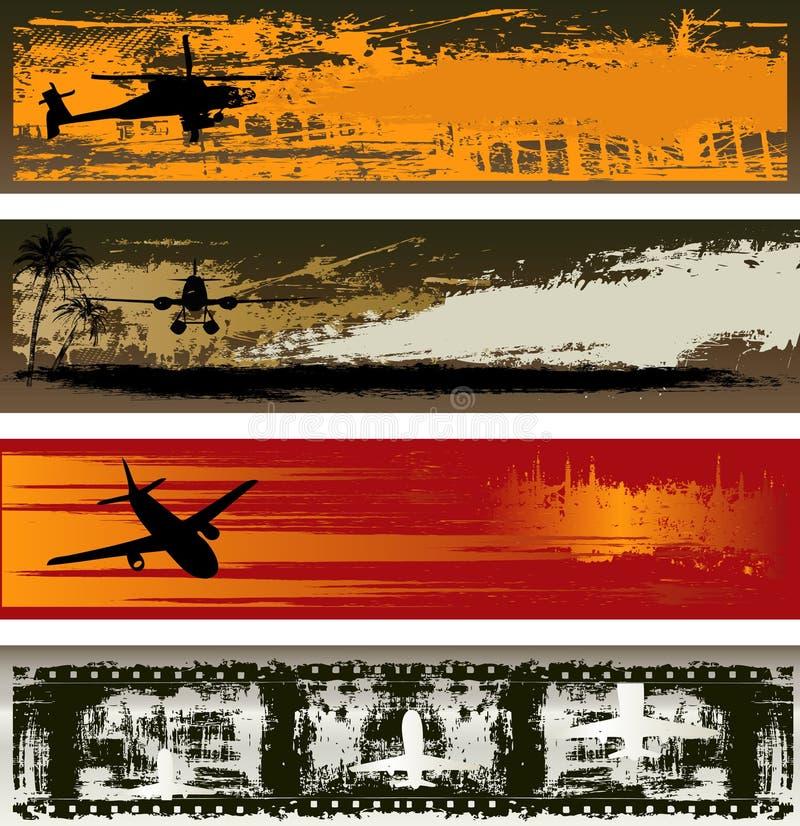 шаблоны grunge знамени воздуха транспортируют сеть иллюстрация штока