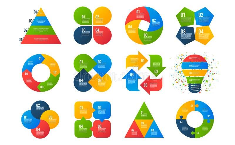 шаблоны infographics Диаграммы дела, диаграммы стрелок, представления Данные 4 варианты или шага infographic вектор иллюстрация вектора