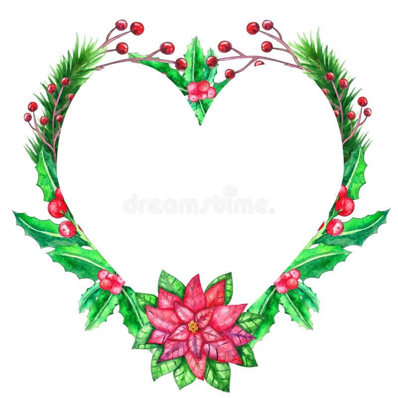 Шаблон акварели рождества с покрашенными листьями бесплатная иллюстрация