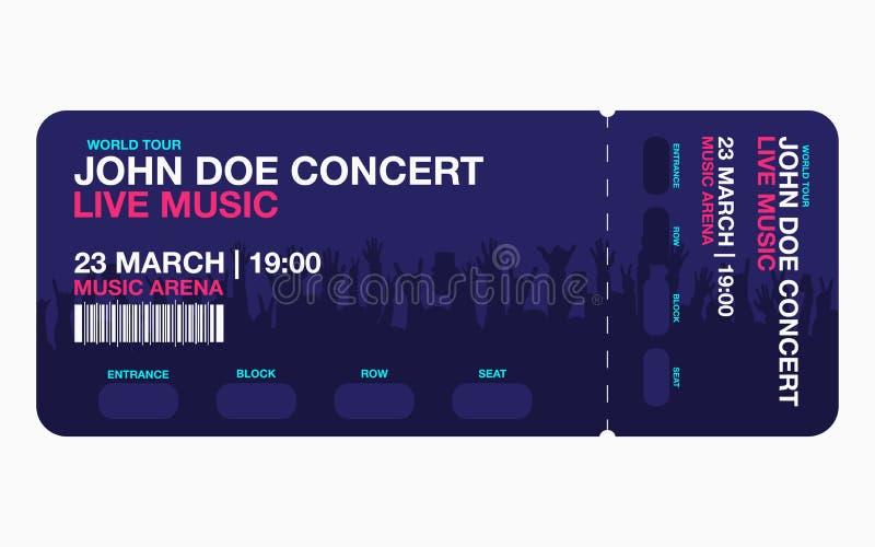 Шаблон билета концерта иллюстрация штока