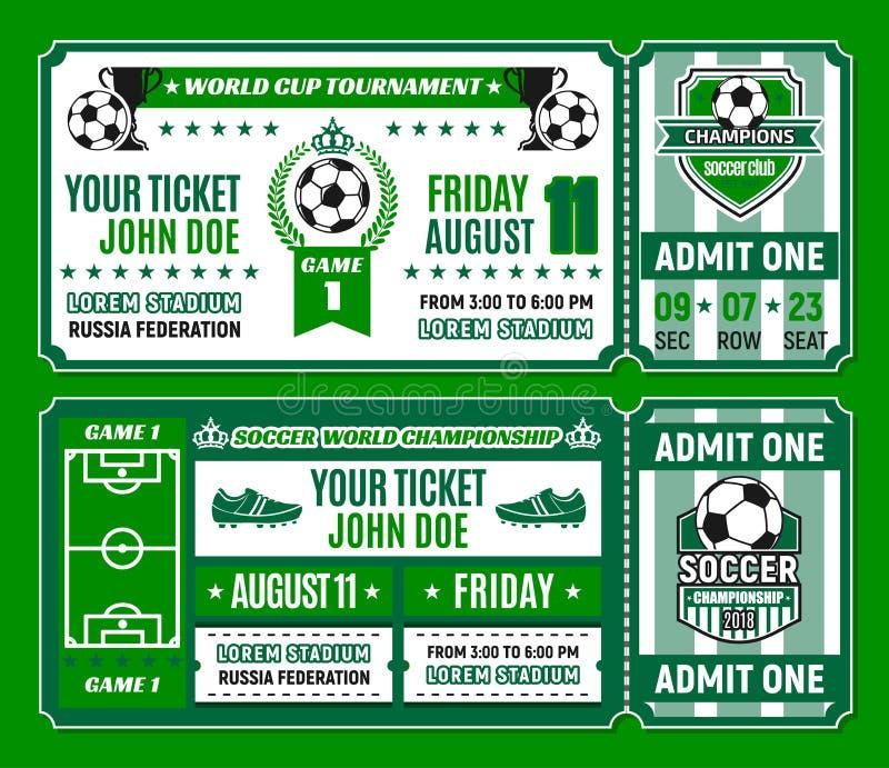 Шаблон билета футбола турнира чашки футбола иллюстрация вектора