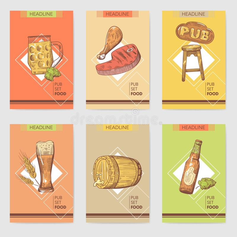Шаблон брошюры паба пива Нарисованное рукой меню ресторана с едой и питьем Плакат пива, знамя бесплатная иллюстрация