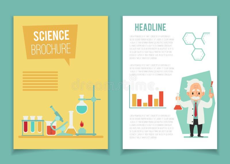 Шаблон брошюры со стилем мультфильма ученого и химического оборудования плоским бесплатная иллюстрация