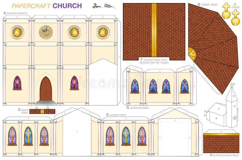 Шаблон бумажного ремесла здания церкви иллюстрация штока