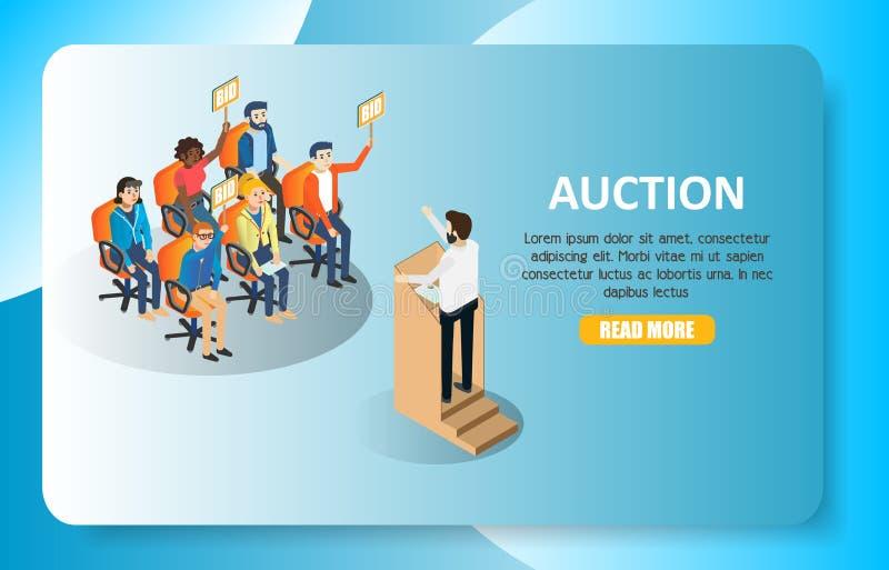 Шаблон вебсайта знамени сети вектора аукциона равновеликий иллюстрация штока