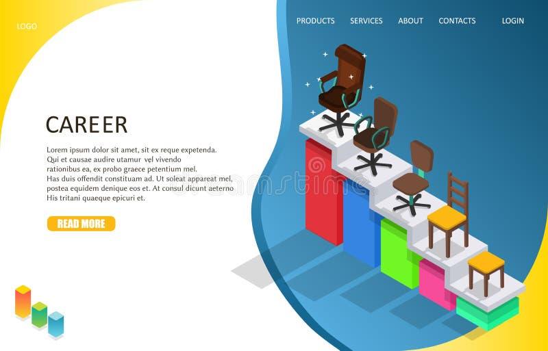 Шаблон вебсайта страницы карьеры дела приземляясь Иллюстрация вектора равновеликая лестницы карьеры с различными видами  иллюстрация вектора