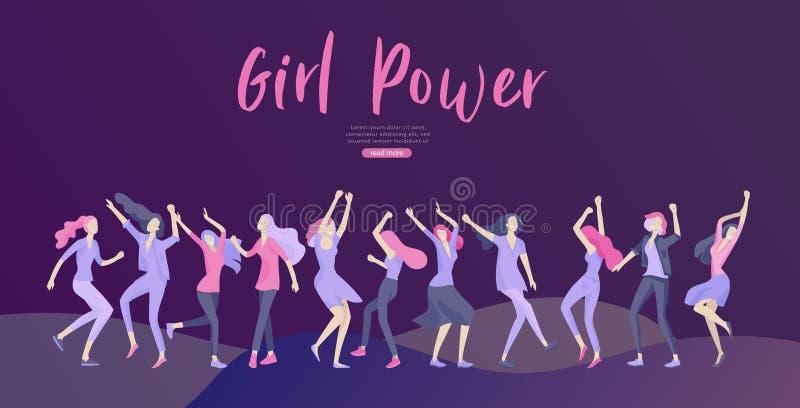 Шаблон веб-дизайна со счастливой женщиной dansing, для красоты, мотивация мечт, Международный женский день, концепция феминизма иллюстрация вектора