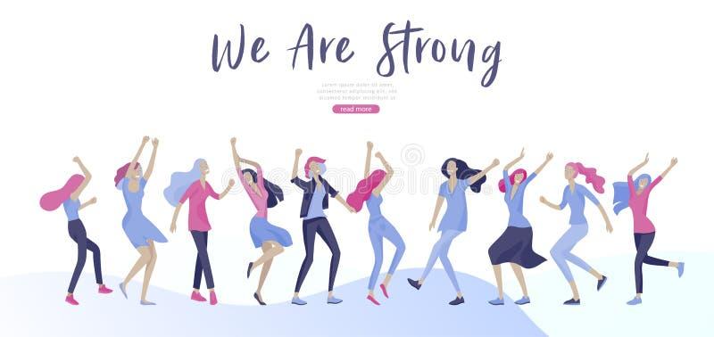 Шаблон веб-дизайна со счастливой женщиной dansing, для красоты, мотивация мечт, Международный женский день, концепция феминизма бесплатная иллюстрация