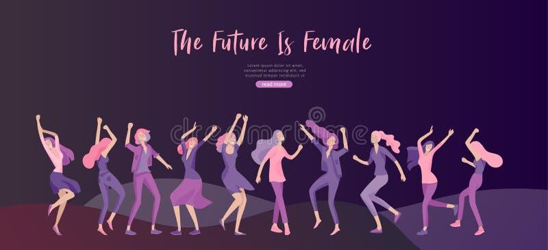 Шаблон веб-дизайна со счастливой женщиной dansing, для красоты, мотивация мечт, Международный женский день, концепция феминизма,  иллюстрация вектора