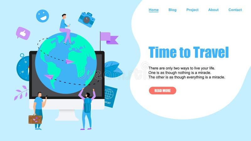 Шаблон Веб-страницы Концепция времени путешествовать Земля планеты для идеи проекта перемещения плоской с 2 самолетами иллюстрация вектора